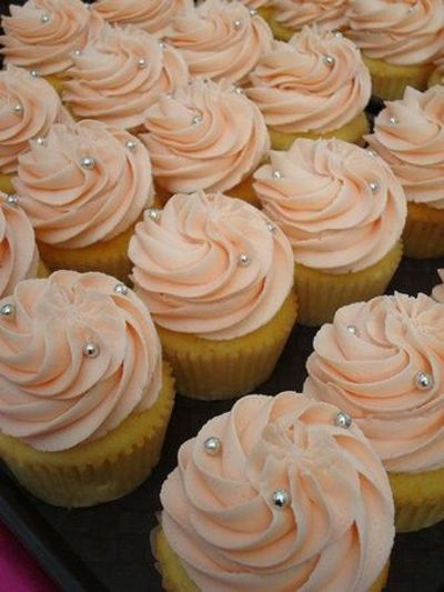 peach cupcakes with silver pearls -- bridal shower