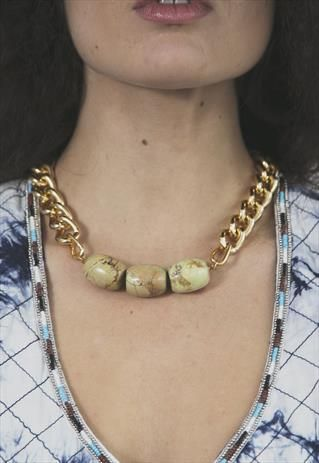 I'm Precious.Semi precious stone, chunky gold chain necklace from Shh by Sadie on ASOS Marketplace. Shhbysadie.com