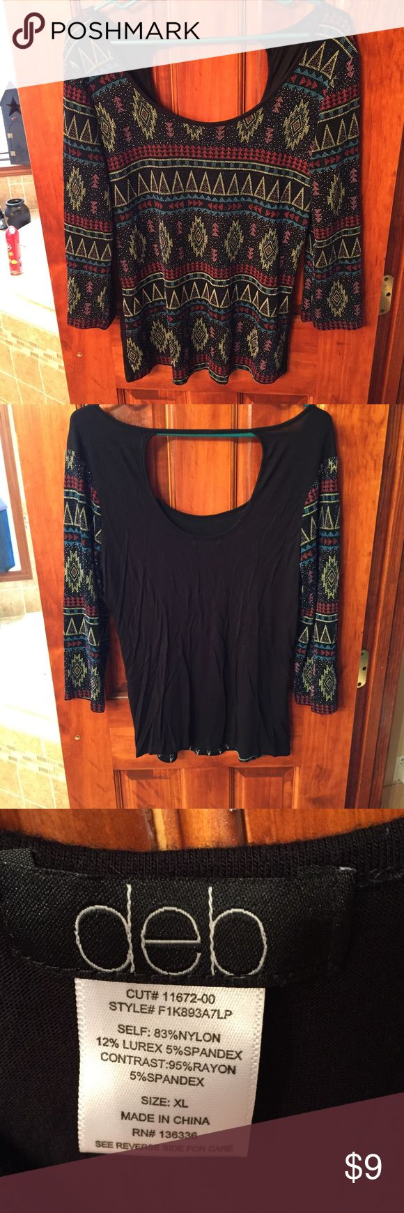 Aztec Blouse Textured Aztec design. Worn once. Runs more like a Medium/ Large!!!! Tops Blouses