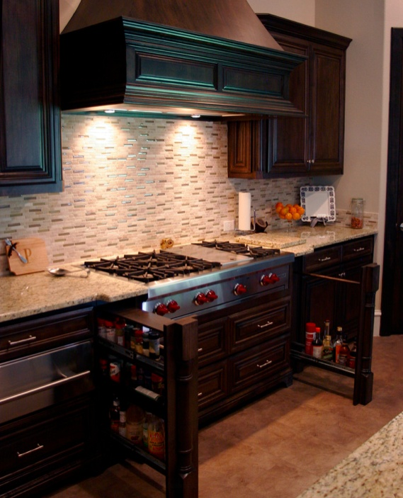 Spruce Up Your Kitchen With These Cabinet Door Styles: Double Filler Pull Out Drawers By Range