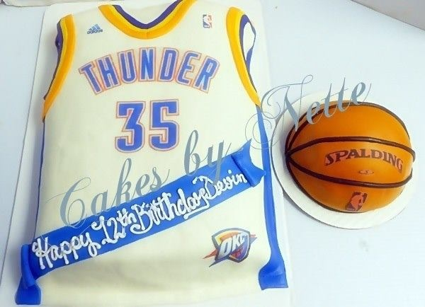 2-D OKC Thunder Jersey and Basketball Cake, Cakes By Nette