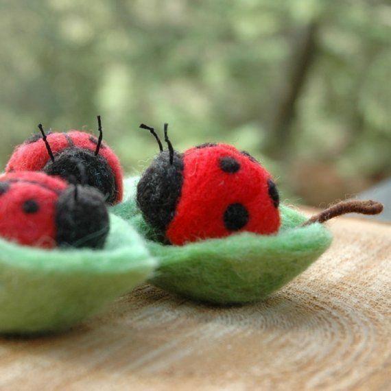 needle felted ladybugs