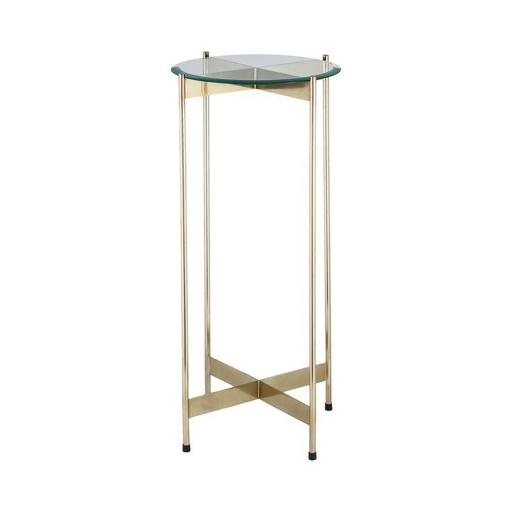 1 Wall Street Gold Accent Table in Gold Finish, Glass and Steel