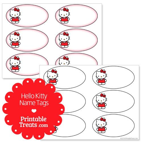 Free Printable Hello Kitty Name Tags from PrintableTreats