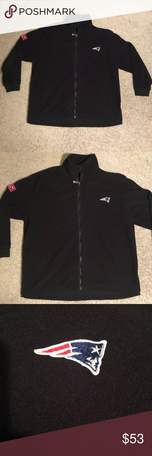Men's NFL New England Patriots fleece XL black Please see pictures for condition.  Very good condition.   New England patriots fleece.  Xl.  Warm and comfy. NFL Sweaters Zip Up