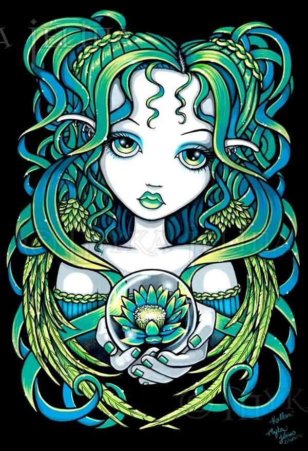 """Myka Jelina Art  New """"Kallan"""" Green Lotus Angel"""