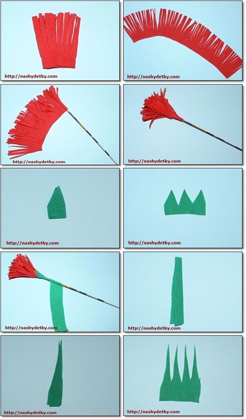 Как сделать гвоздику из бумаги на 9 мая на открытку поэтапно, как сделать лего