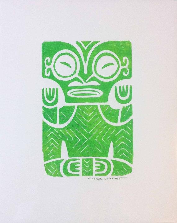 """Marquesan Tiki 3: Block print 8""""x10"""""""