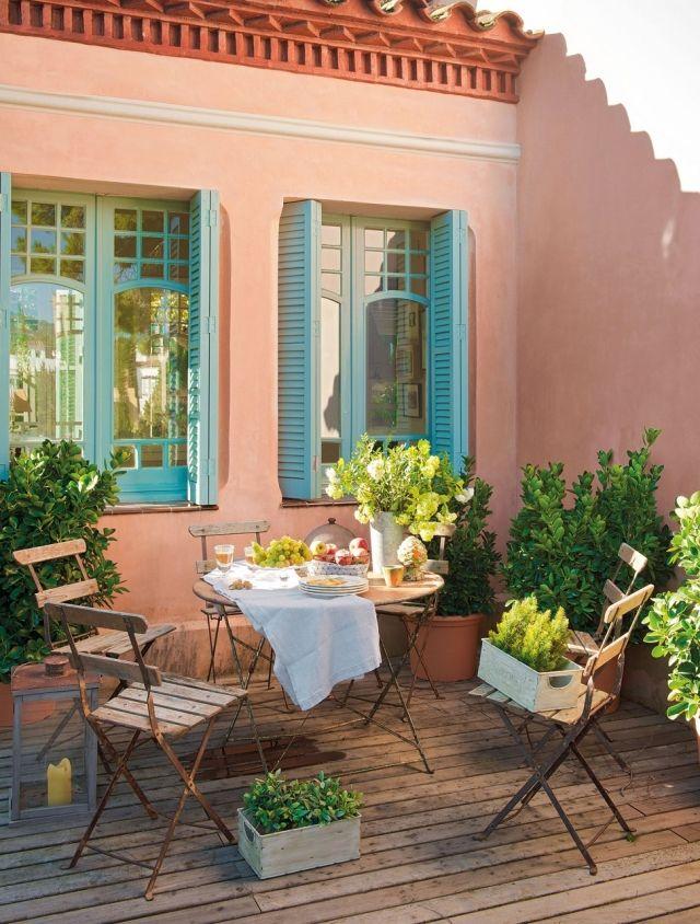 Terrassengestaltung Toskana Flair Eisen Mobel Topfpflanzen Terassenideen Raum Im Freien Terrassengestaltung