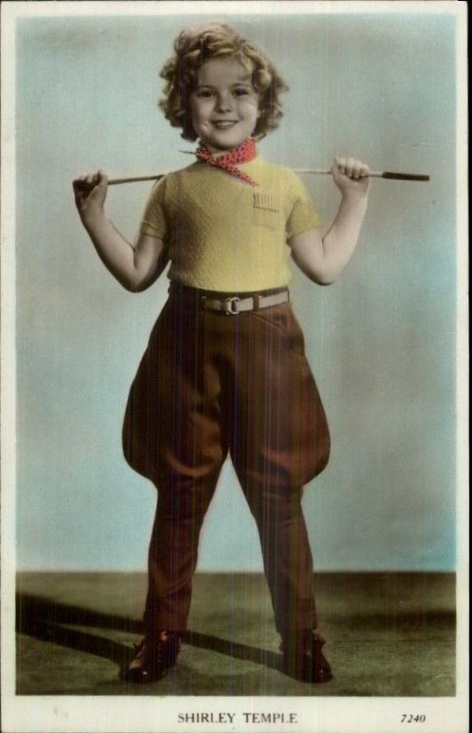 Shirley Temple in Riding Outfit Tinted Real Photo Postcard