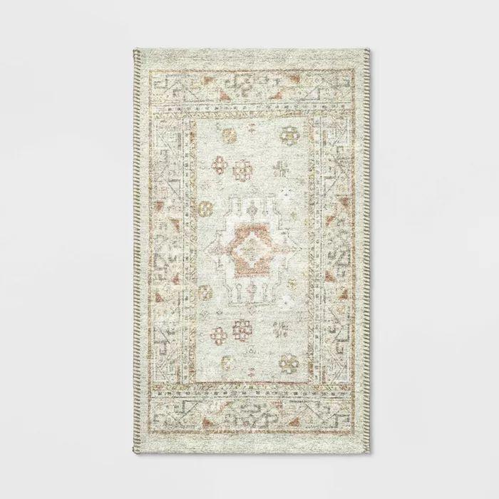 """20""""x34"""" printed persian kitchen rug natural - threshold"""