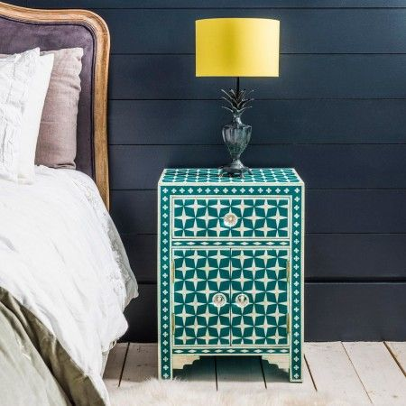 Star Bone Inlay Bedside - Teal from Graham and Green.  I am in love with this gorgeous colour and detail!