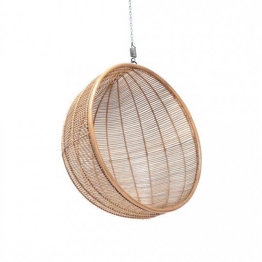 Rattan hanging ball chair natural