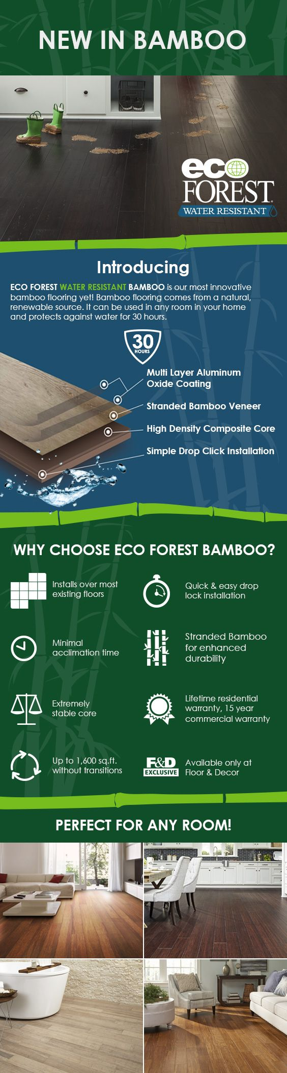 Kid-friendly, pet-friendly, and eco-friendly, EcoForest Water Resistant can be used in any room in your home.