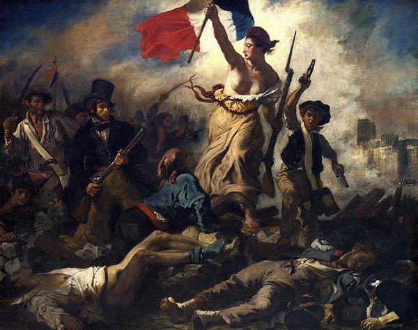 Эжен Делакруа «Свобода, ведущая народ» 1830  Хранится в Лувре в Париже   Делакруа создал картину по мотивам июльской революции 1830 года во Франции. В письме брату 12 октября 1830 года Делакруа пишет: «Если я не сражался за Родину, то я хотя бы буду для нее писать». Обнаженная грудь женщины, ведущей народ, символизирует самоотверженность французских людей того времени, которые с «голой грудью» шли на врага.