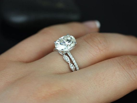 Darcy  Ember 14kt White Gold Oval FB Moissanite and Diamonds Cathedral Wedding Set (Other metals and stone options available) on Etsy, $2,745.00