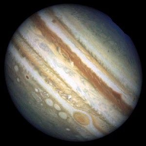 Storms on Jupiter.  The small white ovals are storms on Jupiter, and the 2 outer ones have been developing since the 1930's.