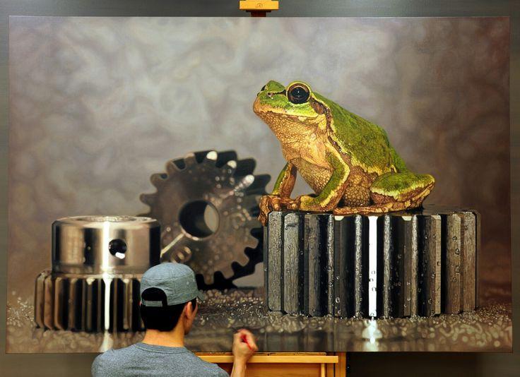 Progress^^ #김영성#극사실#하이퍼리얼리즘#유화#미술관#극사실주의#개구리#달팽이#redseagallery#YoungsungKim#ykim#Hyperrealism#hyperrealistic#oil#painting#drawing#contemporary#art#handpainted#environment#frog#snail#insect#goldfish#animal#sculpture#museum#artgallery#brisbane#australia