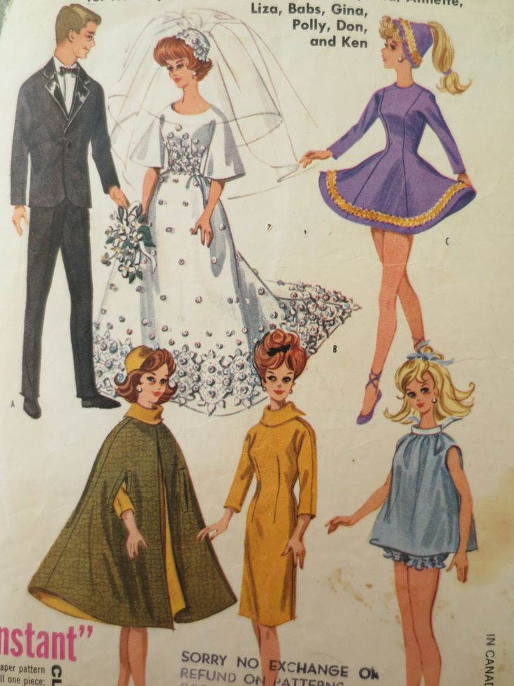 barbie+sewing+patterns | Vintage McCall's 6420 Sewing Pattern, Barbie Clothes Pattern, 1960s ...