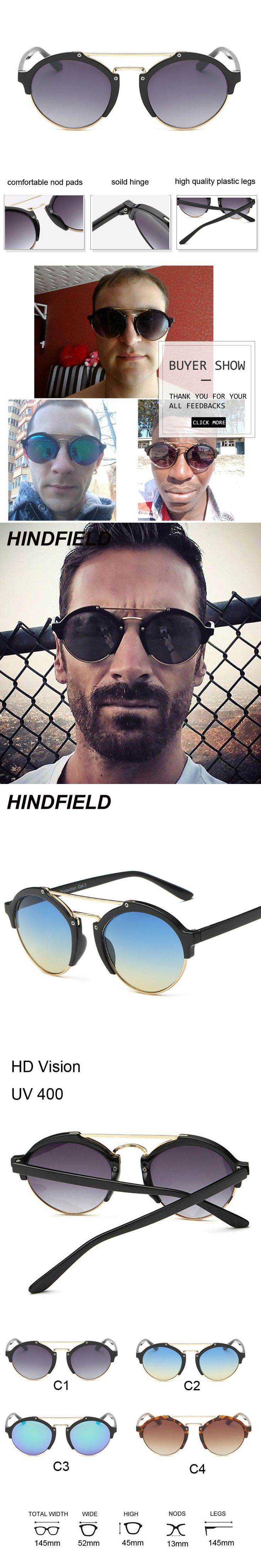 Retro Round Sunglasses Men 2017 Luxury Brand Flat Top Sun Glasses for Women Fashion Designer Mirror Shades Male Oculos Lunettes