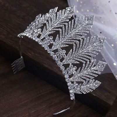 (Ad) eBay - 9cm Tall Large Pageant Leaf Crystal Wedding Bridal Party Prom Tiara Crown Combs