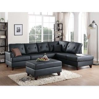 Shop for Black Wintersberg 3-piece Sectional Sofa Set W/Ottoman. Get free delivery at Overstock.com - Your Online Furniture Shop! Get 5% in rewards with Club O! - 20662776