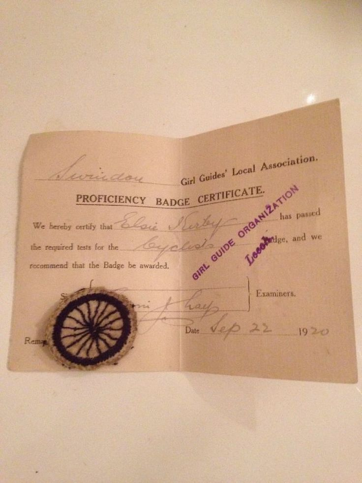 RARE 1920 GIRL GUIDE BADGE FELT CYCLIST WITH PROFICIENCY BADGE CERTIFICATE in Badges/ Patches   eBay