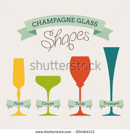 Champagne glass shapes with names on ribbons