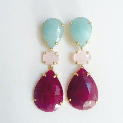 Pendientes de plata con baño de oro jade de color y cuarzo rosa