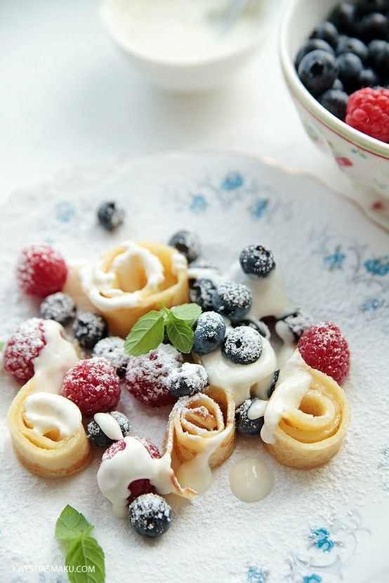 Crepe Strips, Fruit & Yogurt - Sprinkle w powdered sugar. Lovely way to present crepes.