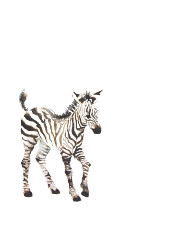 This print was created from an original watercolor of a zebra. It is so soft and delicate with a nice clean white background. This painting