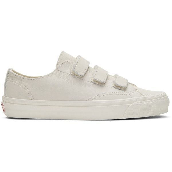 Vans Off-White OG Style 23 V LX Sneakers ($80) ❤ liked on Polyvore featuring men's fashion, men's shoes, men's sneakers, mens velcro shoes, mens velcro strap sneakers, mens nubuck shoes, mens velcro strap shoes and mens velcro sneakers