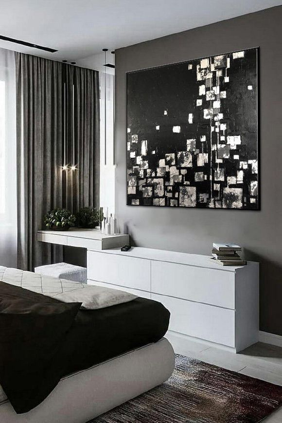 Large Contemporary Painting Black White Art White Painting