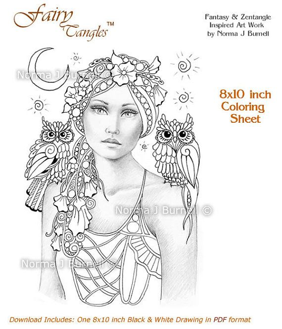 Sweet Pea and The New Moon - Fairy Tangles Coloring Sheet Fairies Adult Digi Coloring Page by Norma J Burnell 8x10 Fairies and Owls
