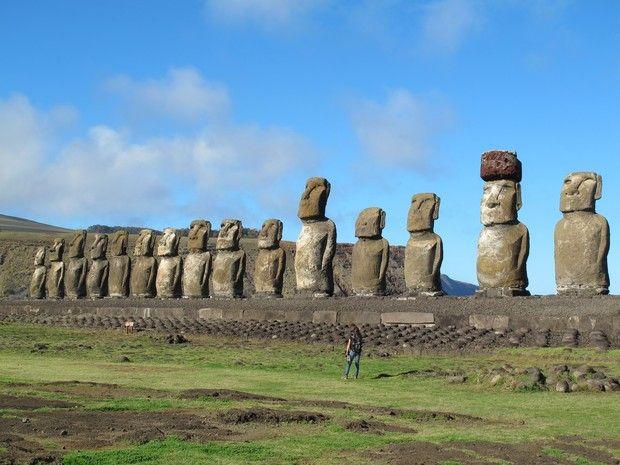 As famosas estátuas da Ilha de Páscoa