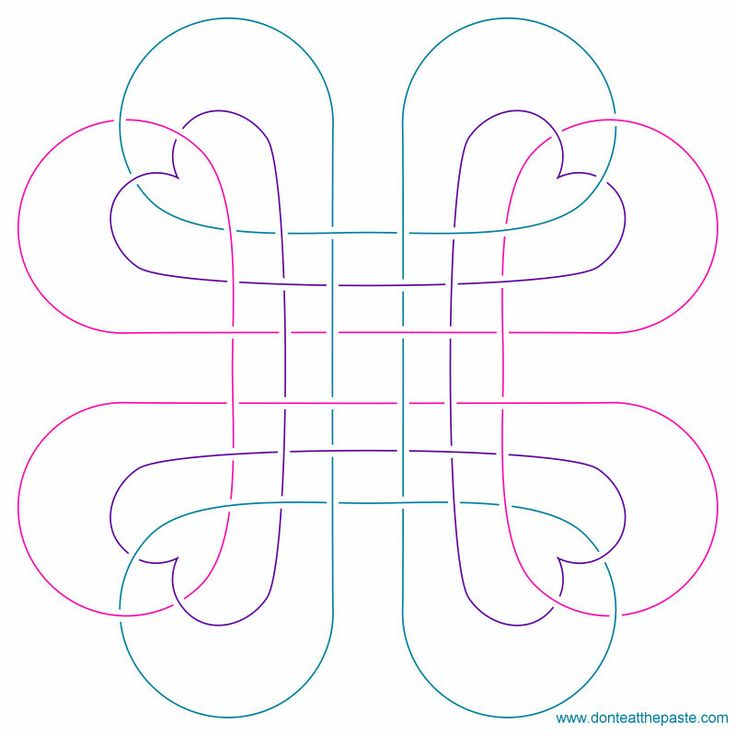 Heart knot embroidery pattern