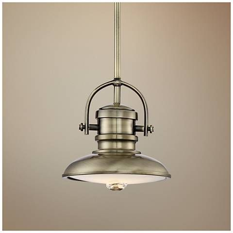 396 best pendant lighting images on pinterest pendant lamp a handsome antique brass finish is the perfect complement to the industrial style of this energy efficient led mini pendant canopy is wide x high aloadofball Gallery