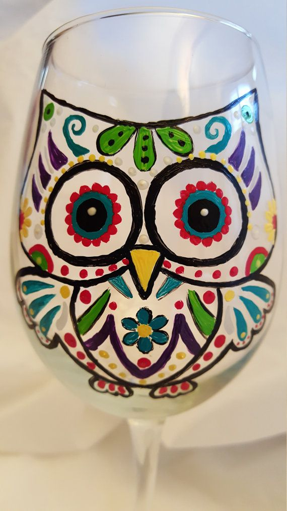 Owl Decor, Painted Wine Glass, Sugar Skull, Decorated Wine Glass, Personalized Glass, Owls, Unique Owl Design, Stemless Wine Glass