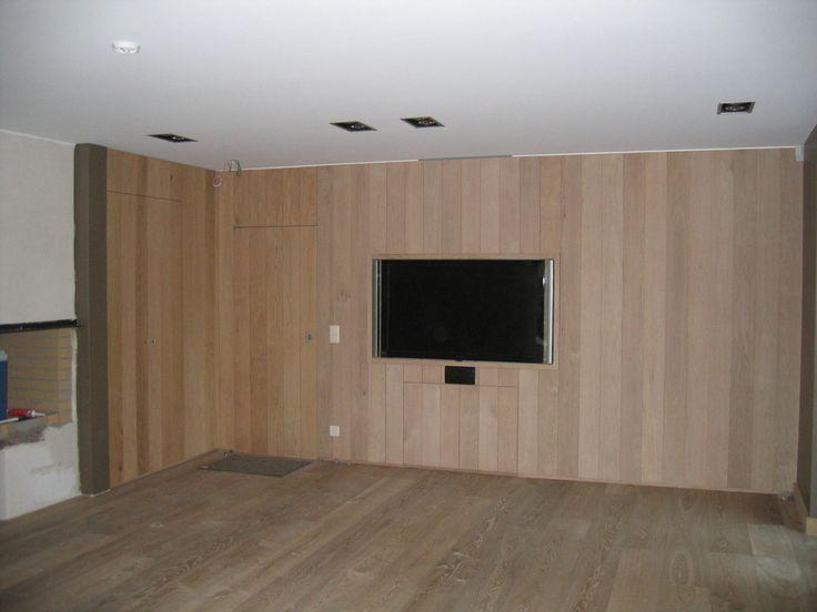 Eiken binnenmuur afwerking interieur inrichting stuyts realisatie pinterest - Houten binnenmuur dressing ...