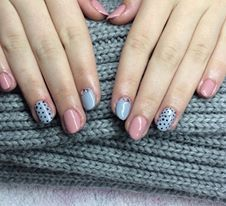 blue pink cute style gel lac polish , dotty nail , rhinestones