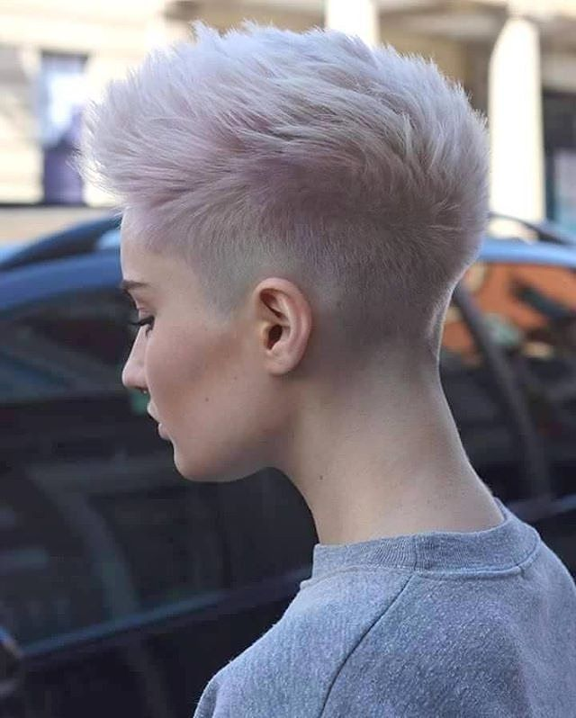 Shaved Pixie Cut Fohawk with Super-Light Lavender Coloring
