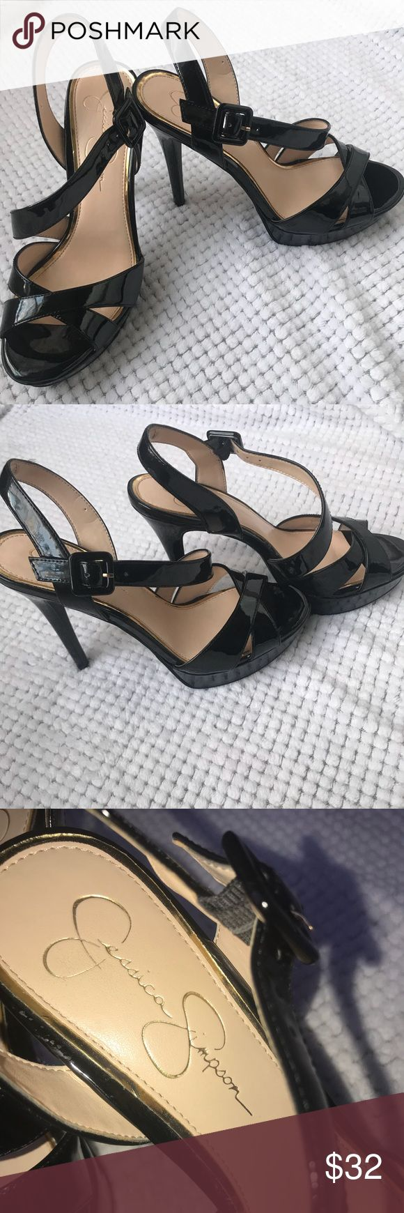 👠 Jessica Simpson black patent heels 👠 Jessica Simpson black patent adjustable sling back strap . Gently used . Some signs of wear on the heel  but not very noticeable . Still has plenty of life left . Peep toe style . Perfect for office or evening wear . Size 8.5 M FAST SHIPPER Jessica Simpson Shoes Heels