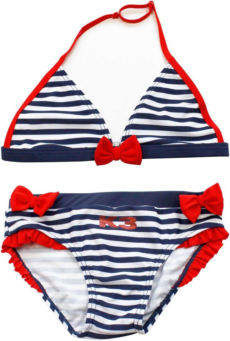 Deze blauw gestreepte bikini van K3 is heel leuk voor meisjes. Deze bikini is maat 98/104. - Bikini K3 streep