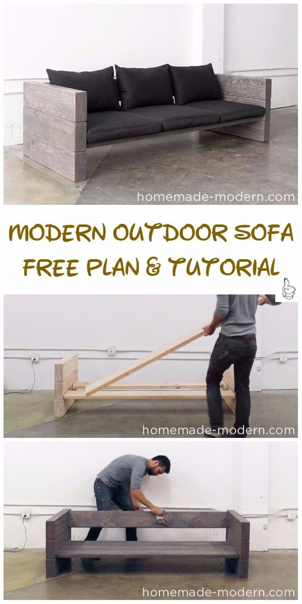 DIY Outdoor Seating Projects Tutorials - DIY Modern Outdoor Sofa Tutorial