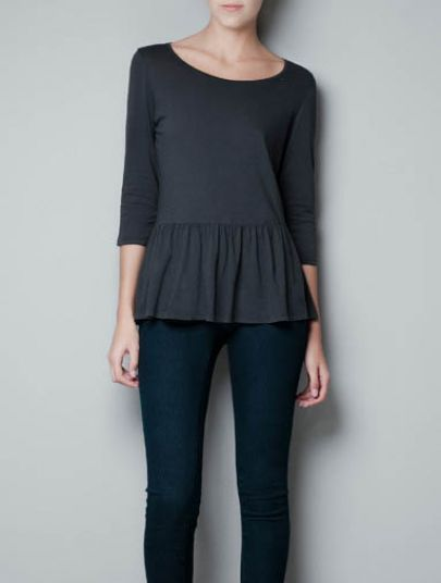 Grey Round Neck Long Sleeve Ruffles T-Shirt pictures