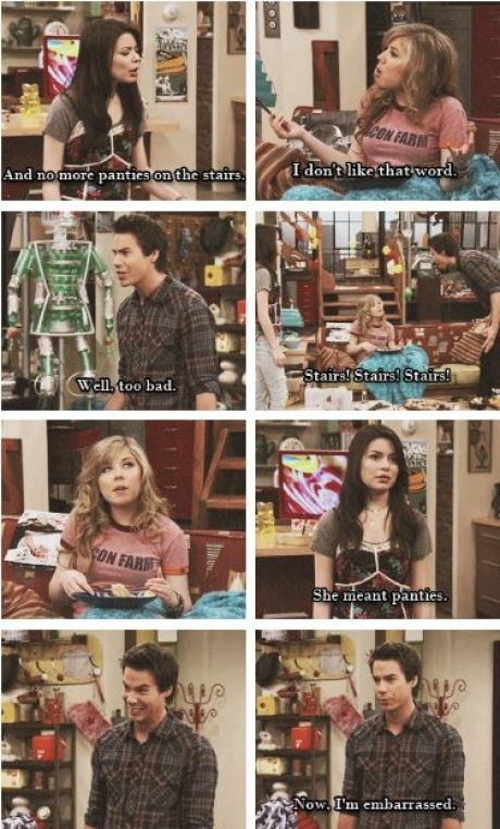 "I just laughed, snorted, then proceeded to choke on my own saliva...all because I thought this was hilarious lol  iCarly  ""Stairs, stairs, stairs!"""