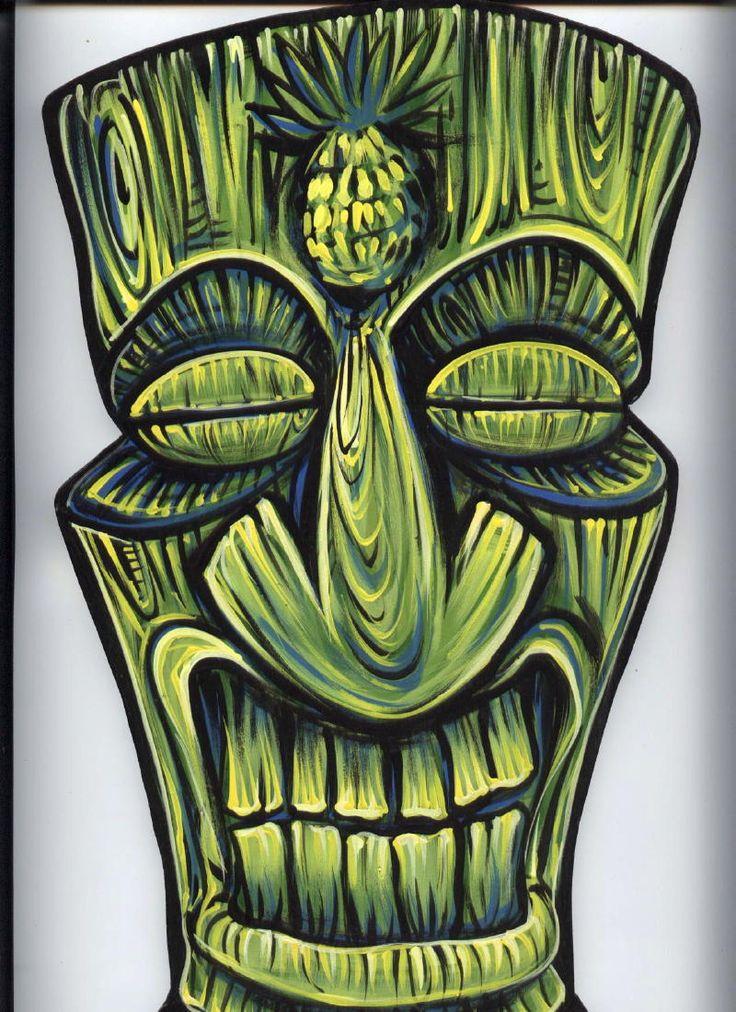 green tiki illustration