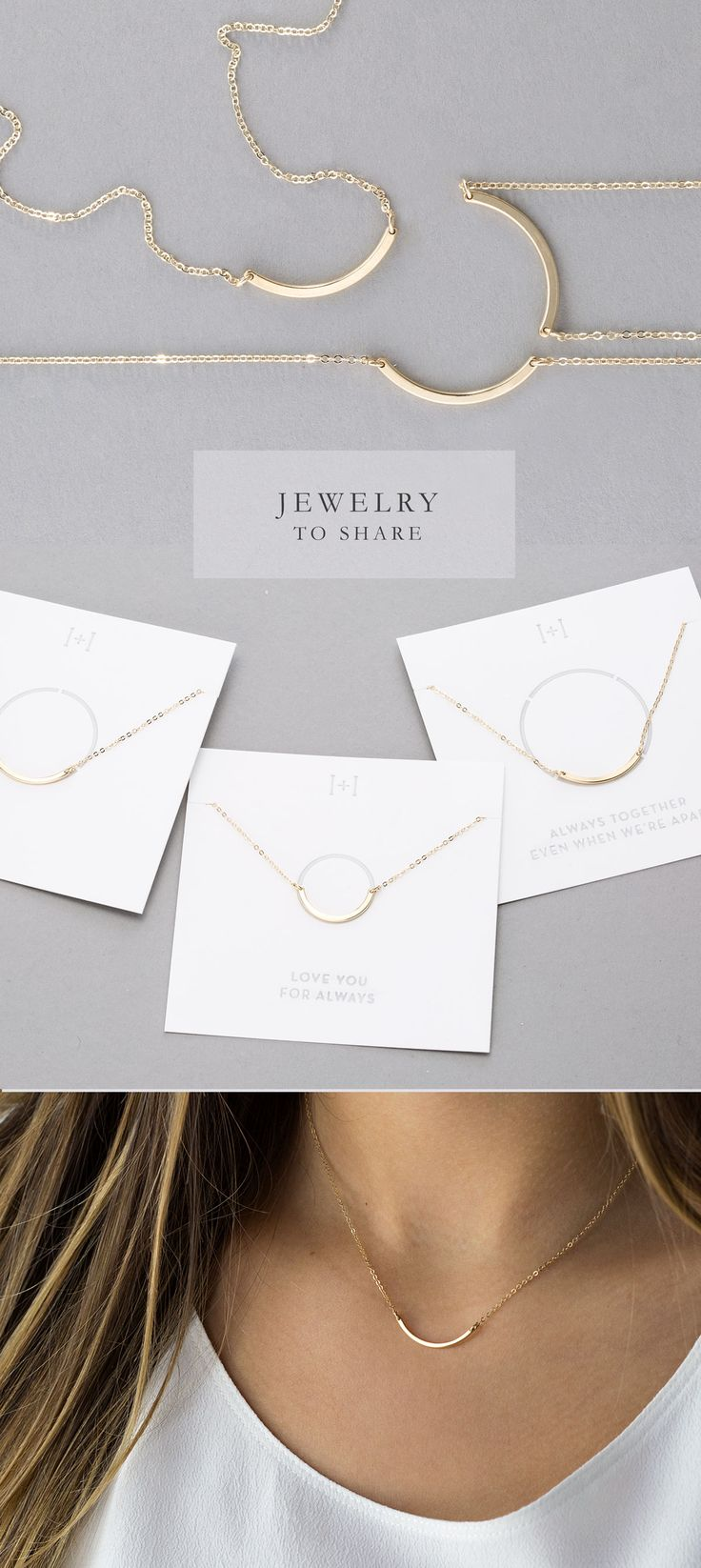 Handmade Friendship Jewelry!  The Perfect Gift to share...in sets of 2, 3 or 4 dainty curve necklaces.  Wear it close to your heart, and when the pieces from the set unite, they will form a complete circle!