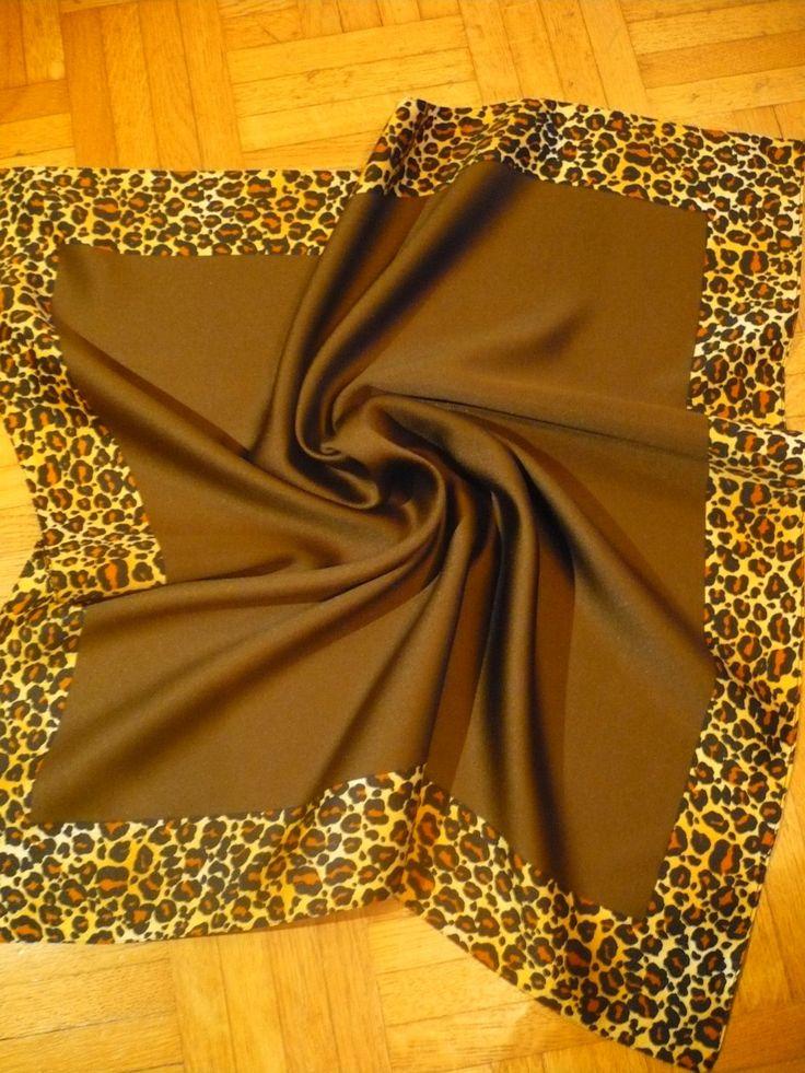 WoW''' Carré SCARF SILK Vintage LEOPARD & BrOWN 1950 1960 Bandana Women Headscarf  hair Gabardine tie Polka Madmen Rockabilly Vlv Mods de la boutique FeverVintage sur Etsy