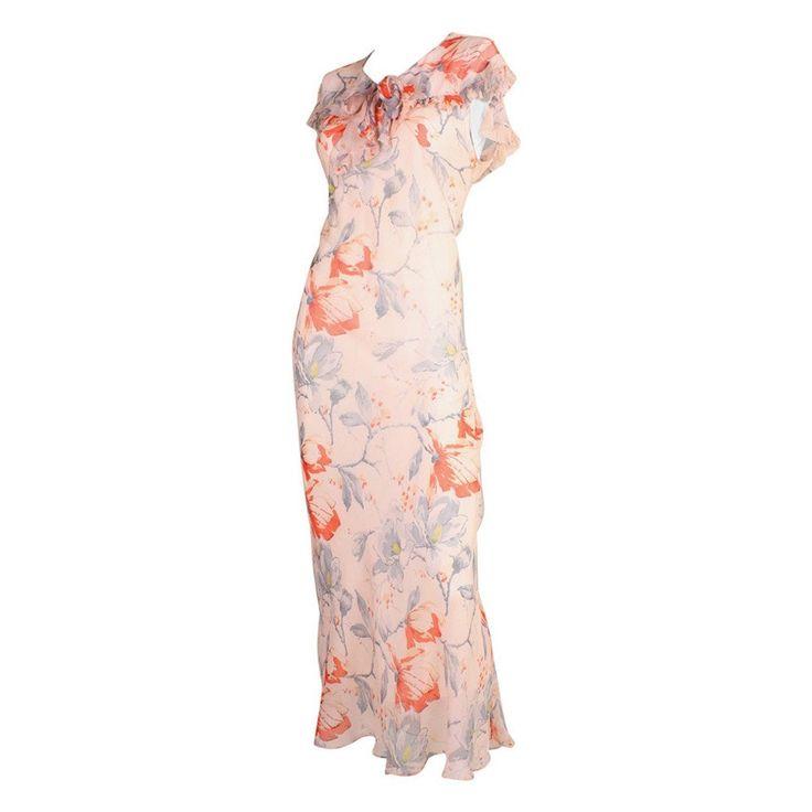 Vintage 1930's Silk Chiffon Floral Bias-Cut Dress